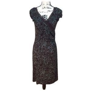BCBG Maxazria Cap Sleeve Dress - brown/blue size S